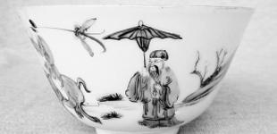 粉彩茶盅 记录清明踏青风俗