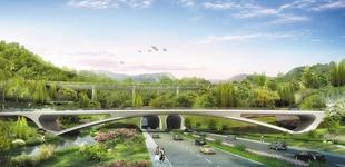 """""""轻舞飞扬""""大鹏山海        深圳国际生物谷坝光启动区的主入口之一,将成为整个坝光片区甚至是大鹏新区的标志性景观桥。"""